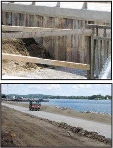 Top, the concrete erosion blankets are installed on the bottom of the AMIL spillway channel. The earth to the level is the base for the new jetty. Middle, a utility vehicle travel on the base for the concrete cap that will protect the seepage barrier and buttress wall. Bottom, the concrete cap is already installed in the front of the new bridge to the yacht club. The foreground excavation exposes the concrete barrier that makes up the dam in this area.